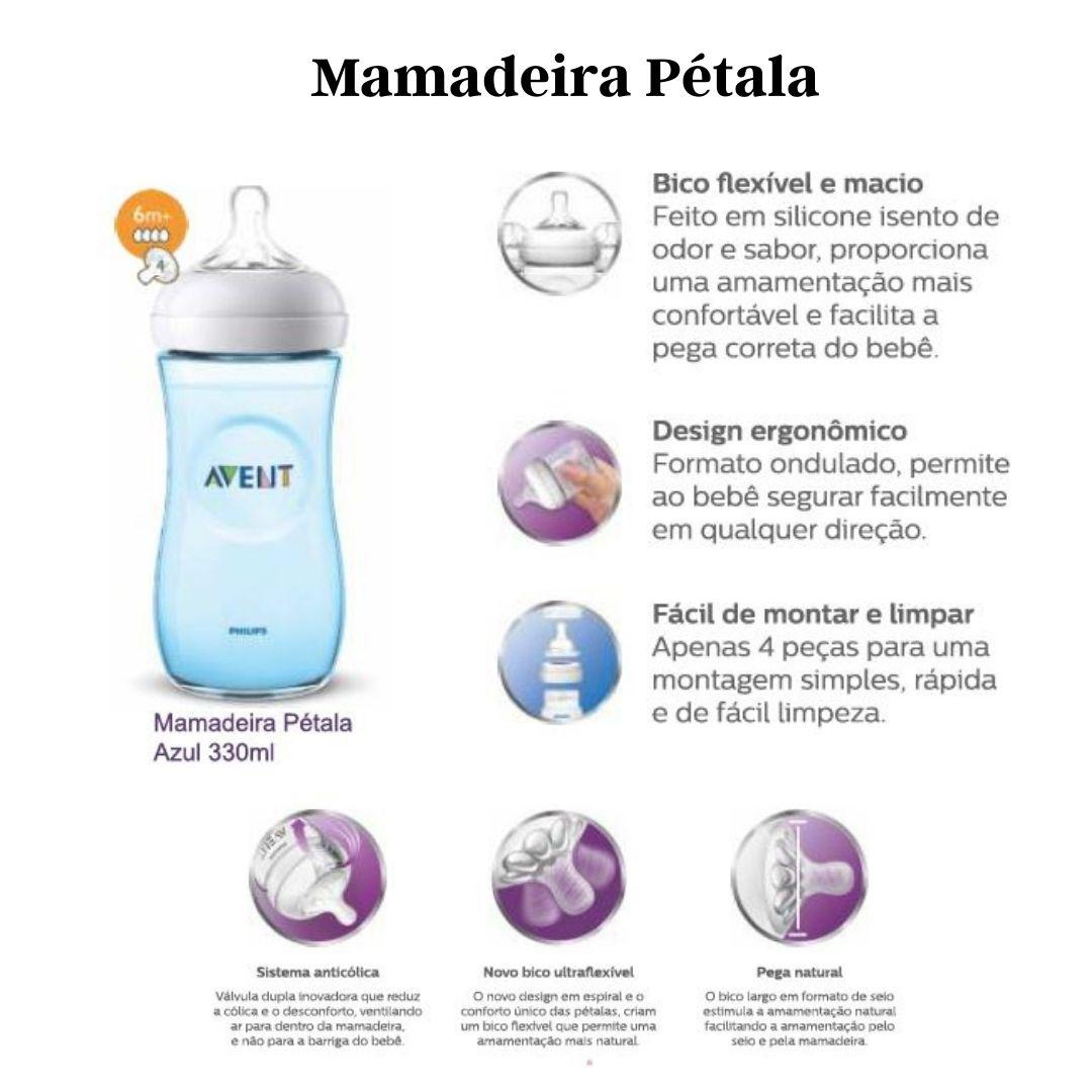 Mamadeira Avent Pétala Anticólica 330ml Azul Bico 6m+