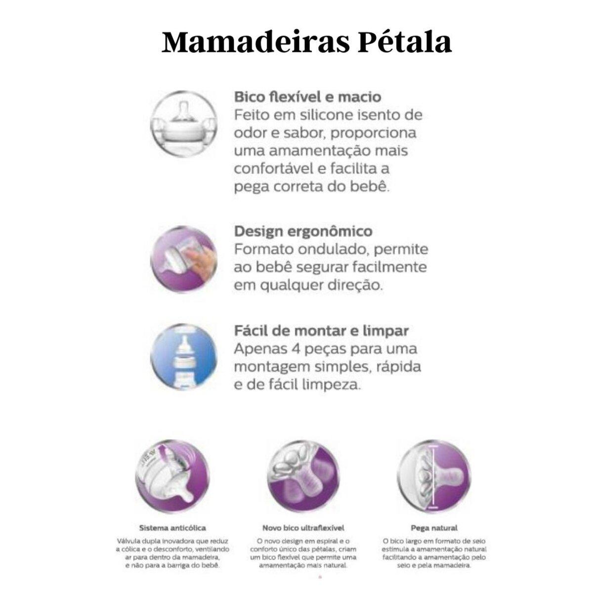 Mamadeira Avent Pétala Anticólica 330ml Transparente 6m+