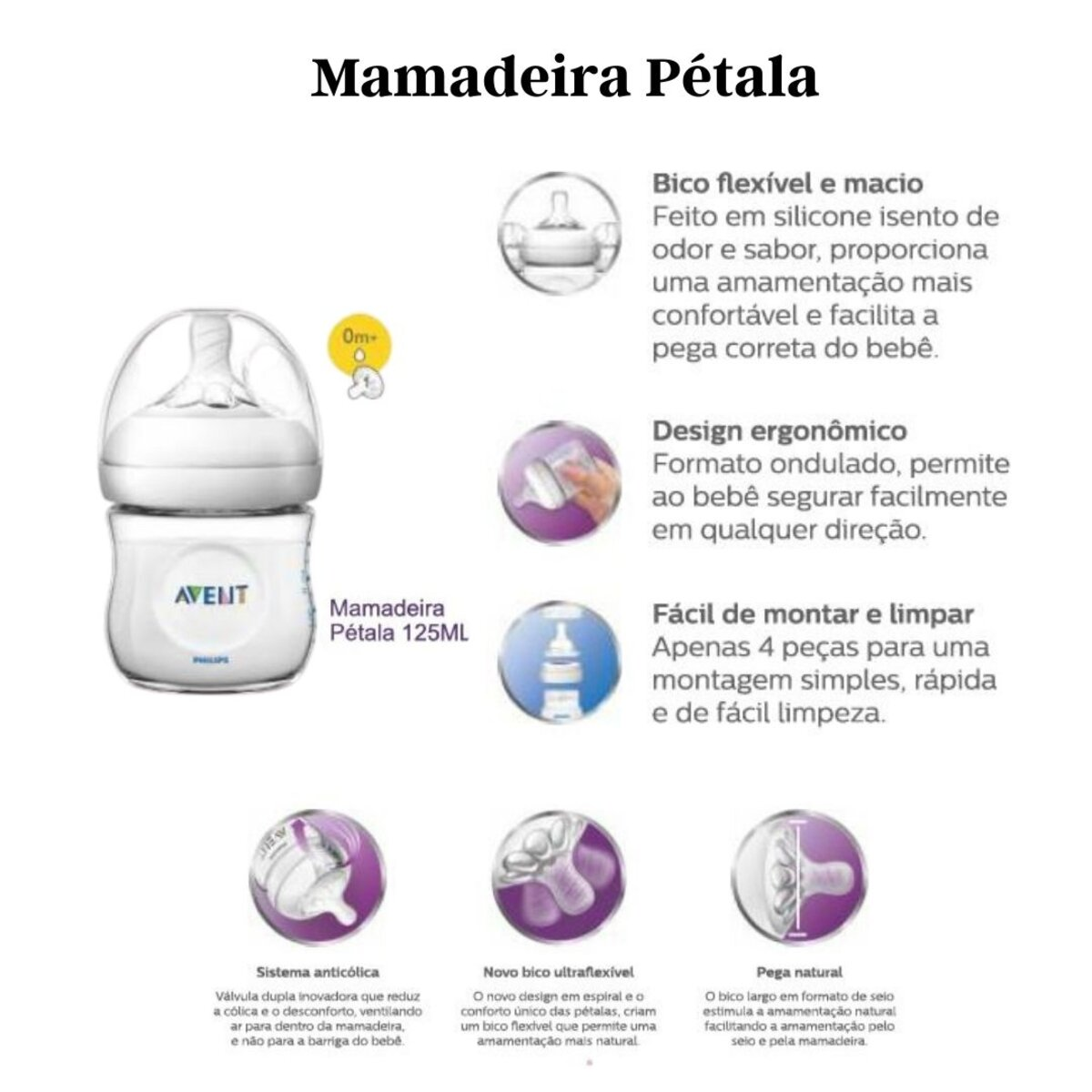 Mamadeira Pétala 125ml - Avent - (SCF030/17)