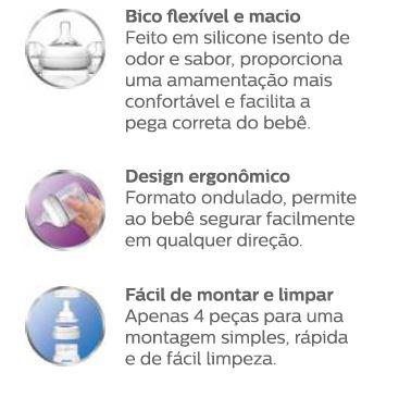 Mamadeira Pétala 260ml Transparente 1m+ - Philips Avent