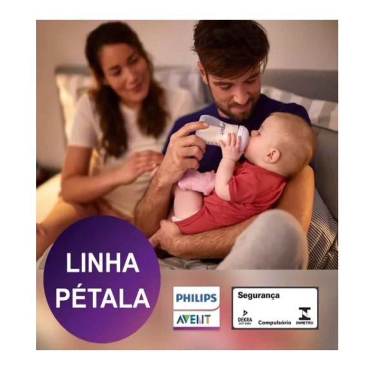 Mamadeira Pétala Philips Avent Anticólica Rosa 260ml 1m+