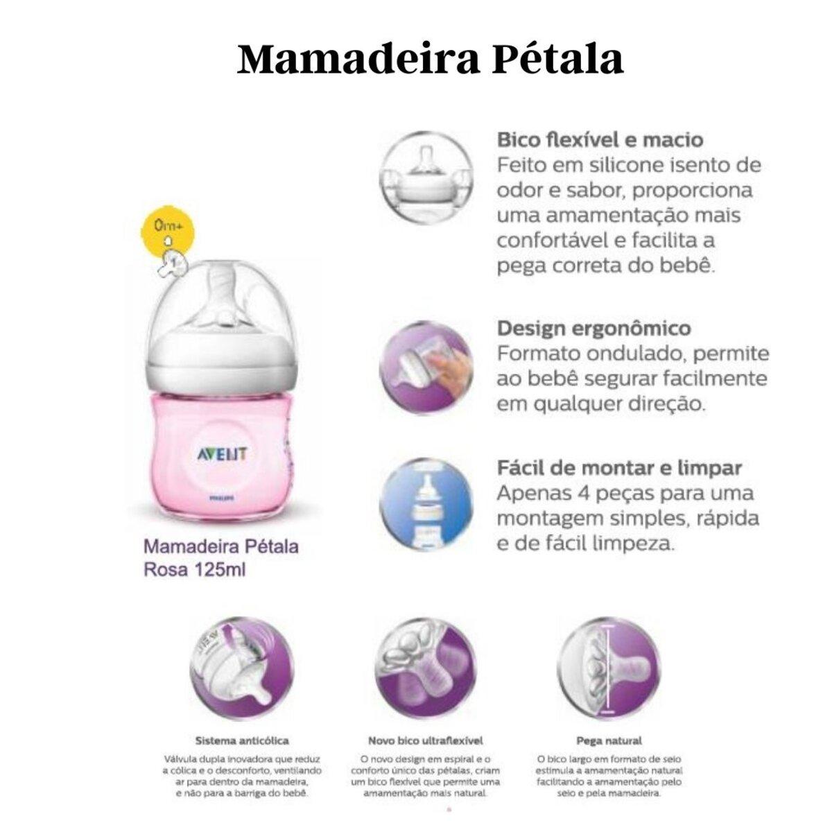 Mamadeira Pétala Rosa Philips Avent 125ml Bico nº1