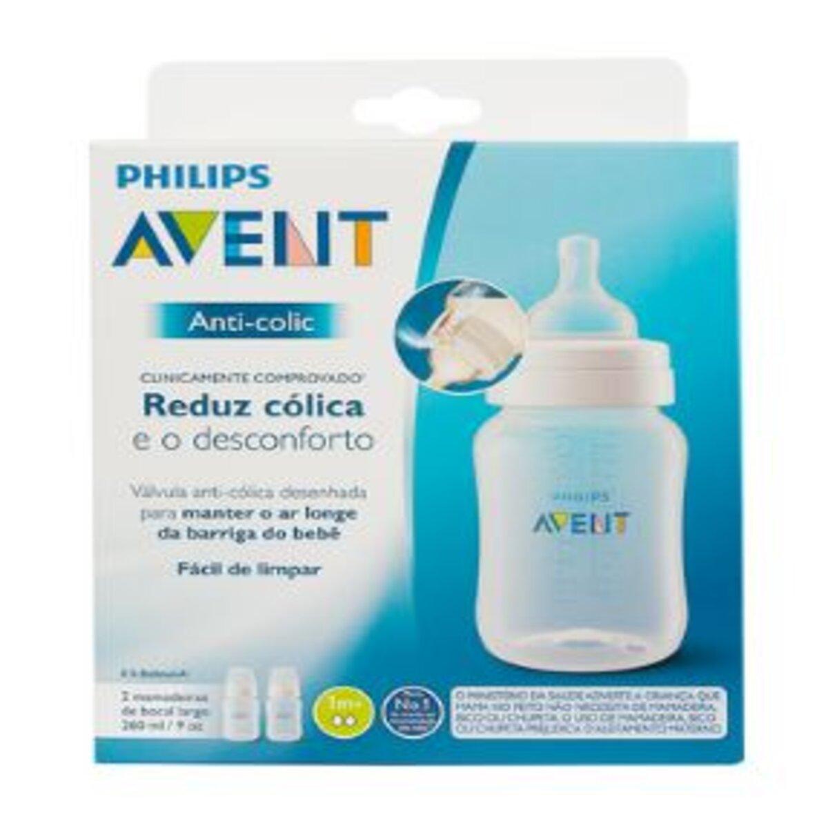 Mamadeira Philips Anti-Colic Transparente e Azul 260ML