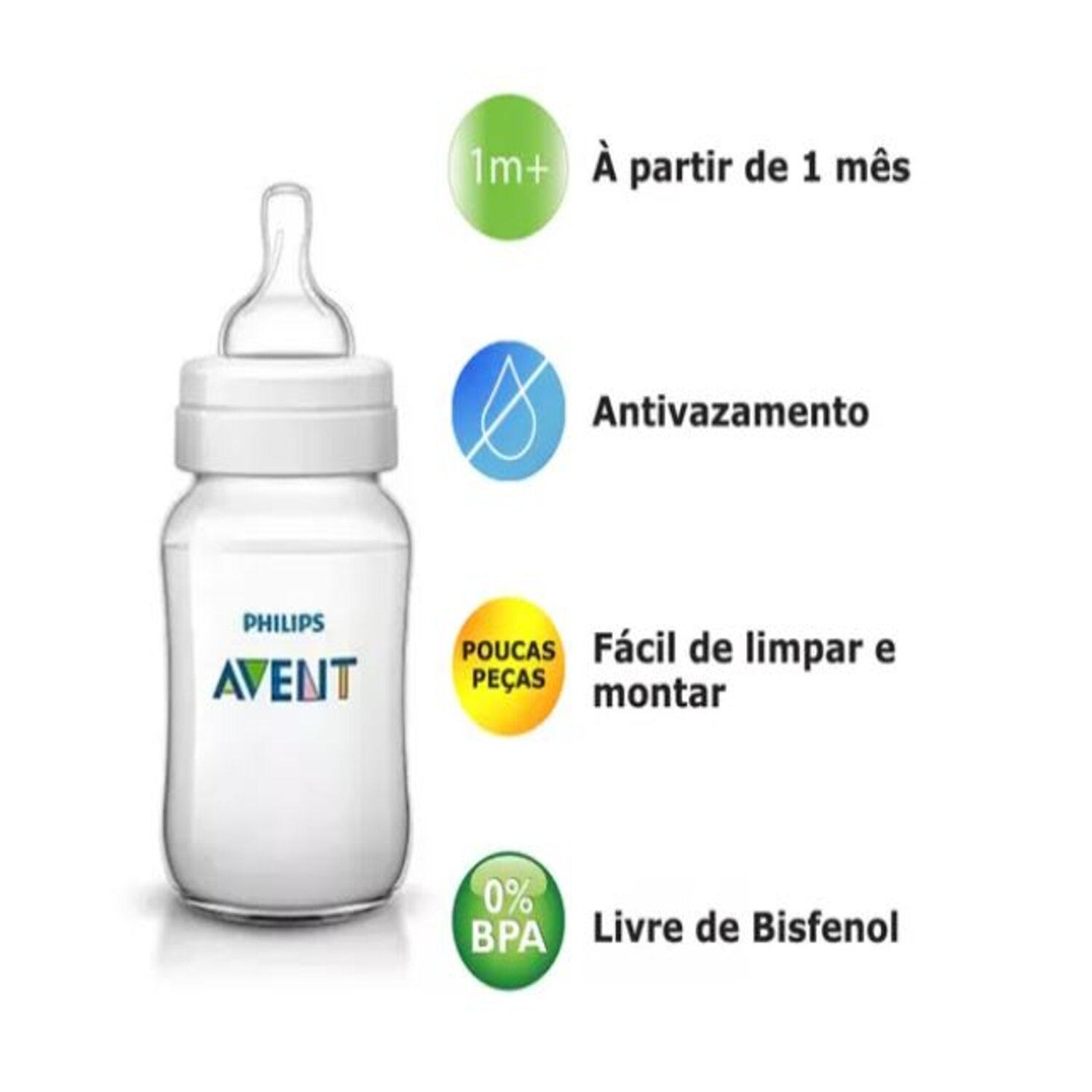 Mamadeira Philips Anti-Colic Transparente Pack Duplo 330ML