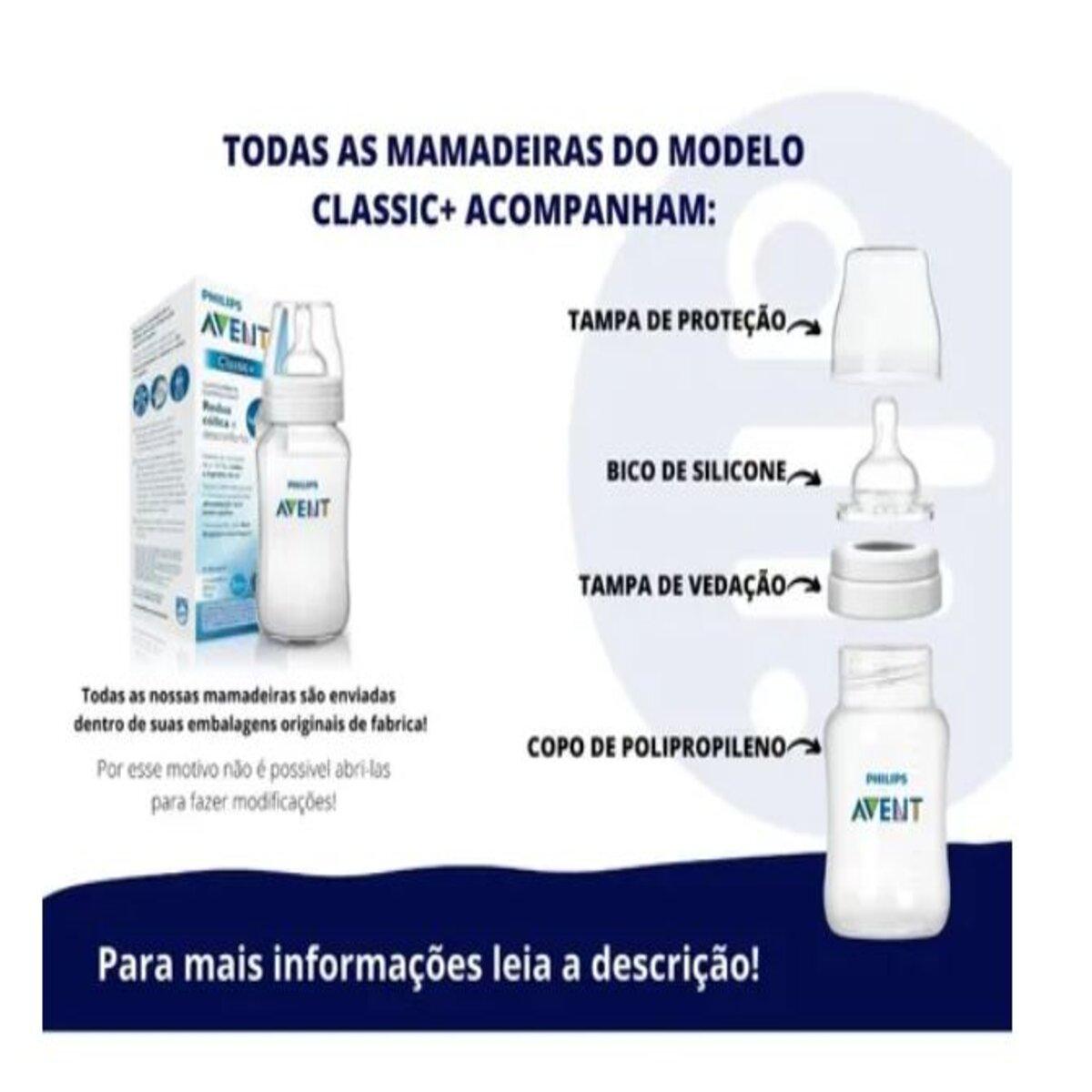 Mamadeira Philips Avent 330ml Classic - Rosa