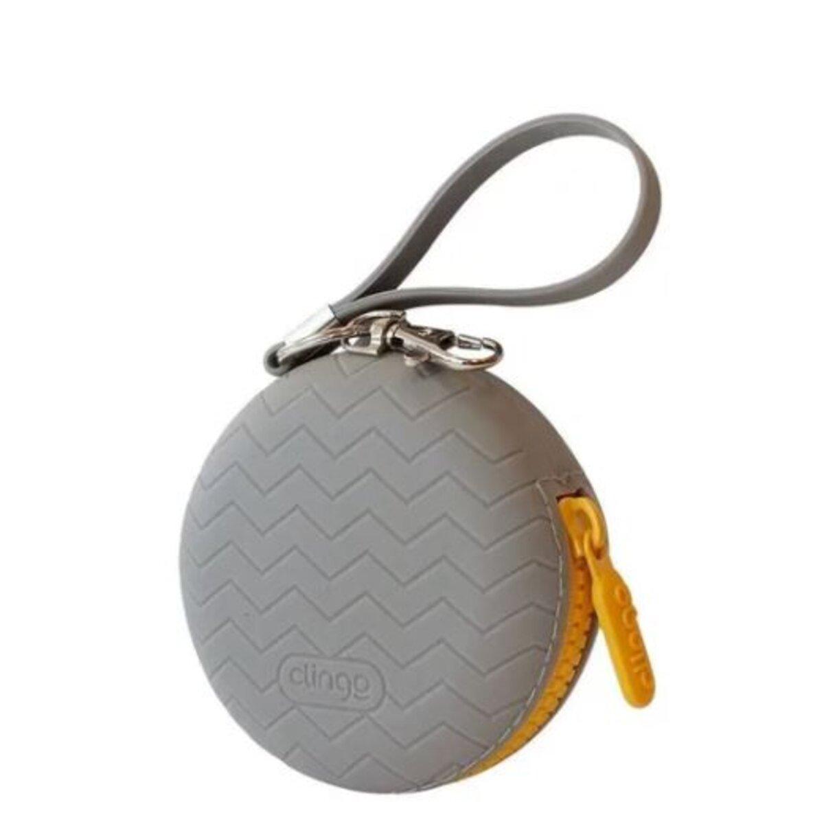 Porta Chupeta de Silicone Cinza com Ziper - Clingo