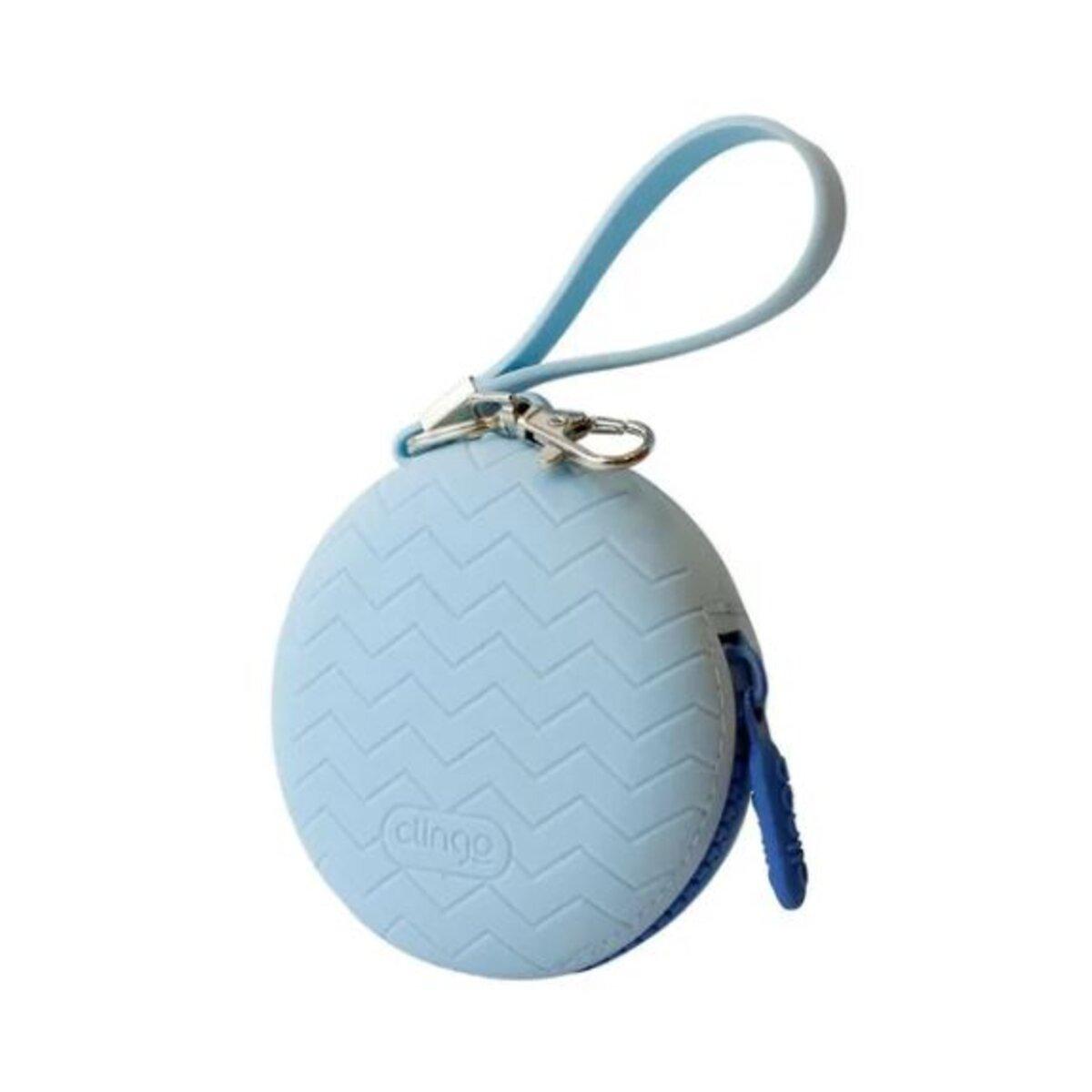 Porta Chupeta de Silicone com Zíper Azul - Clingo