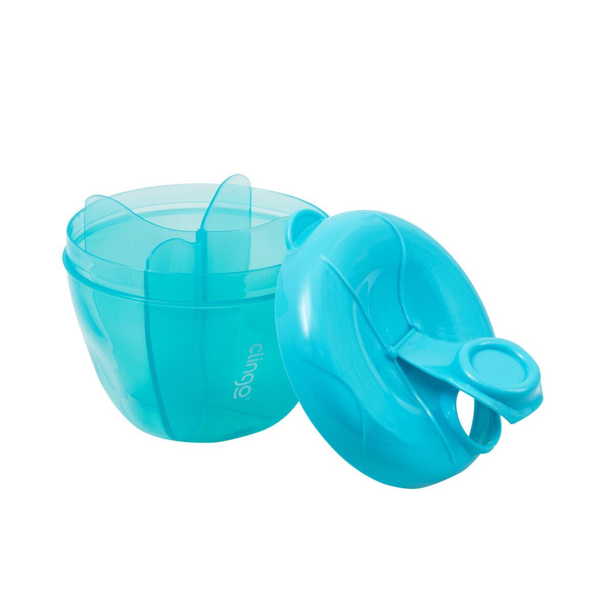 Pote Dosador de Leite em Pó 4 Divisórias 300ml Azul - Clingo