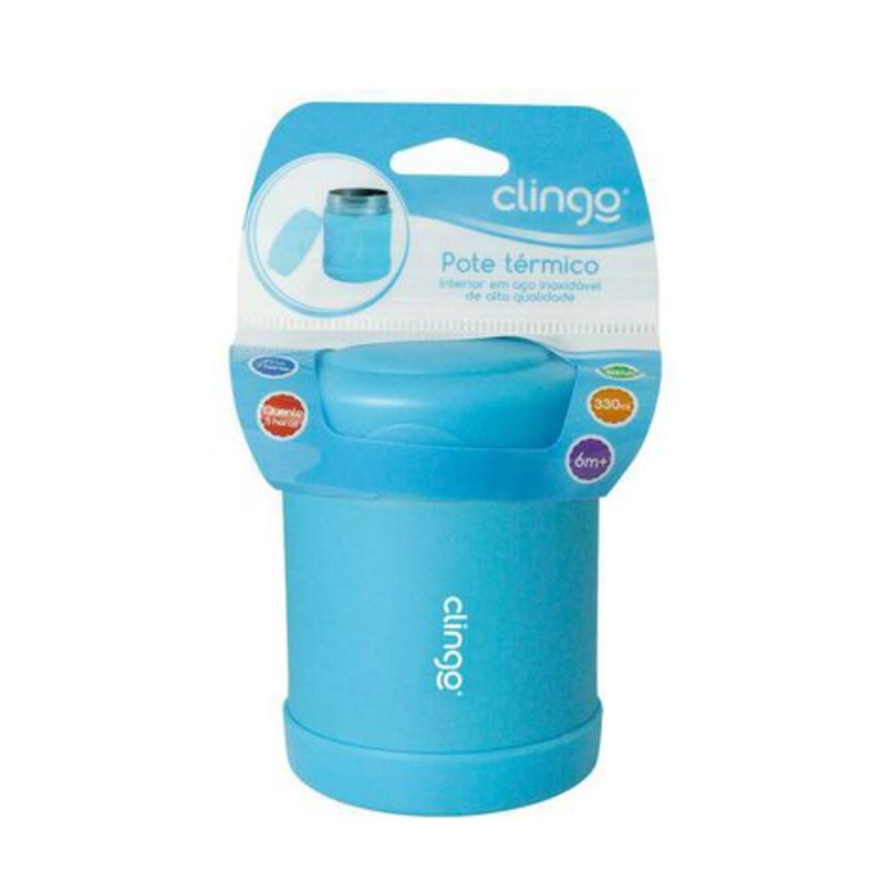 Pote Termico Azul Clingo Para Alimento Quente Frio 330ml