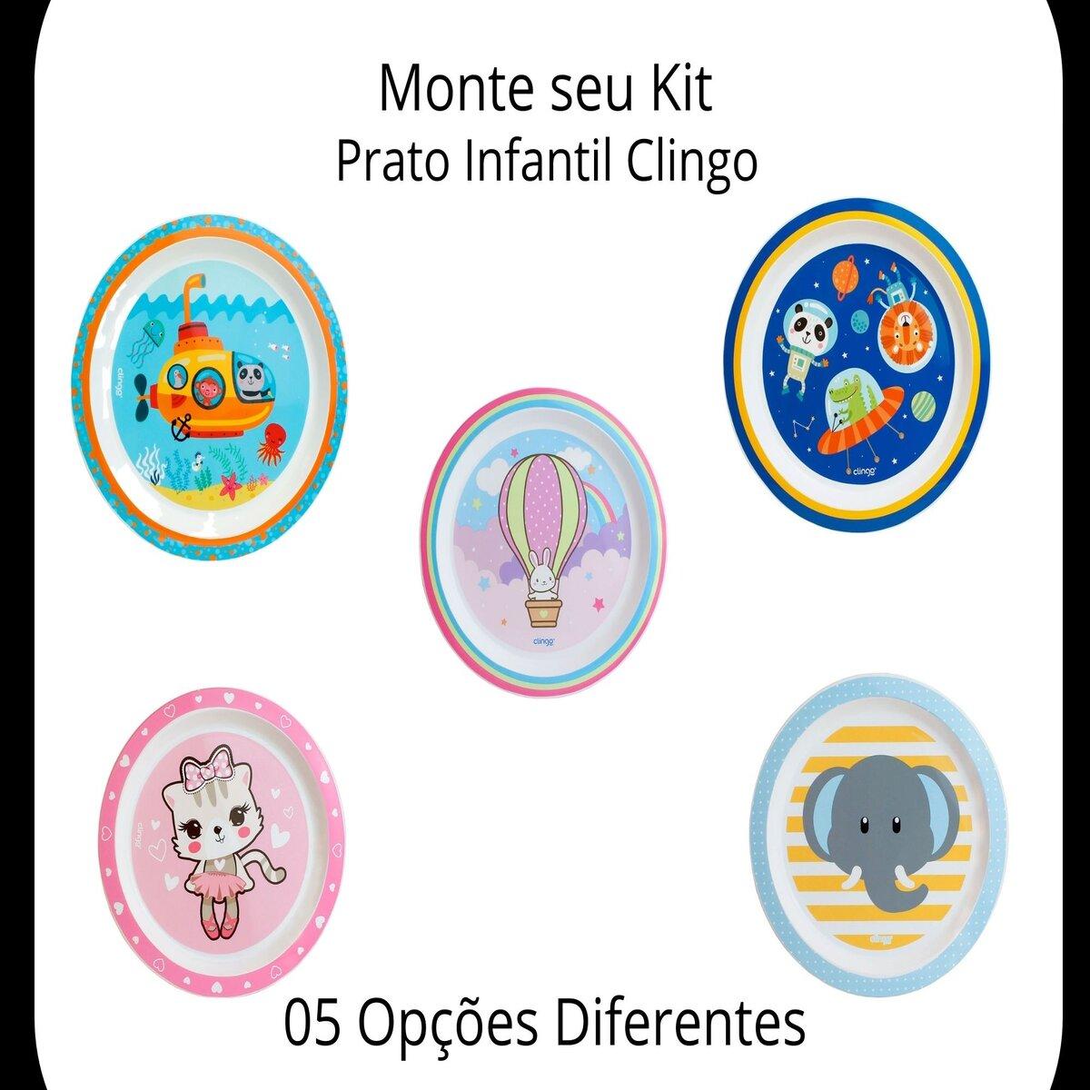 Prato Infantil Bebe Diferentes Estampas Menino Menina Clingo