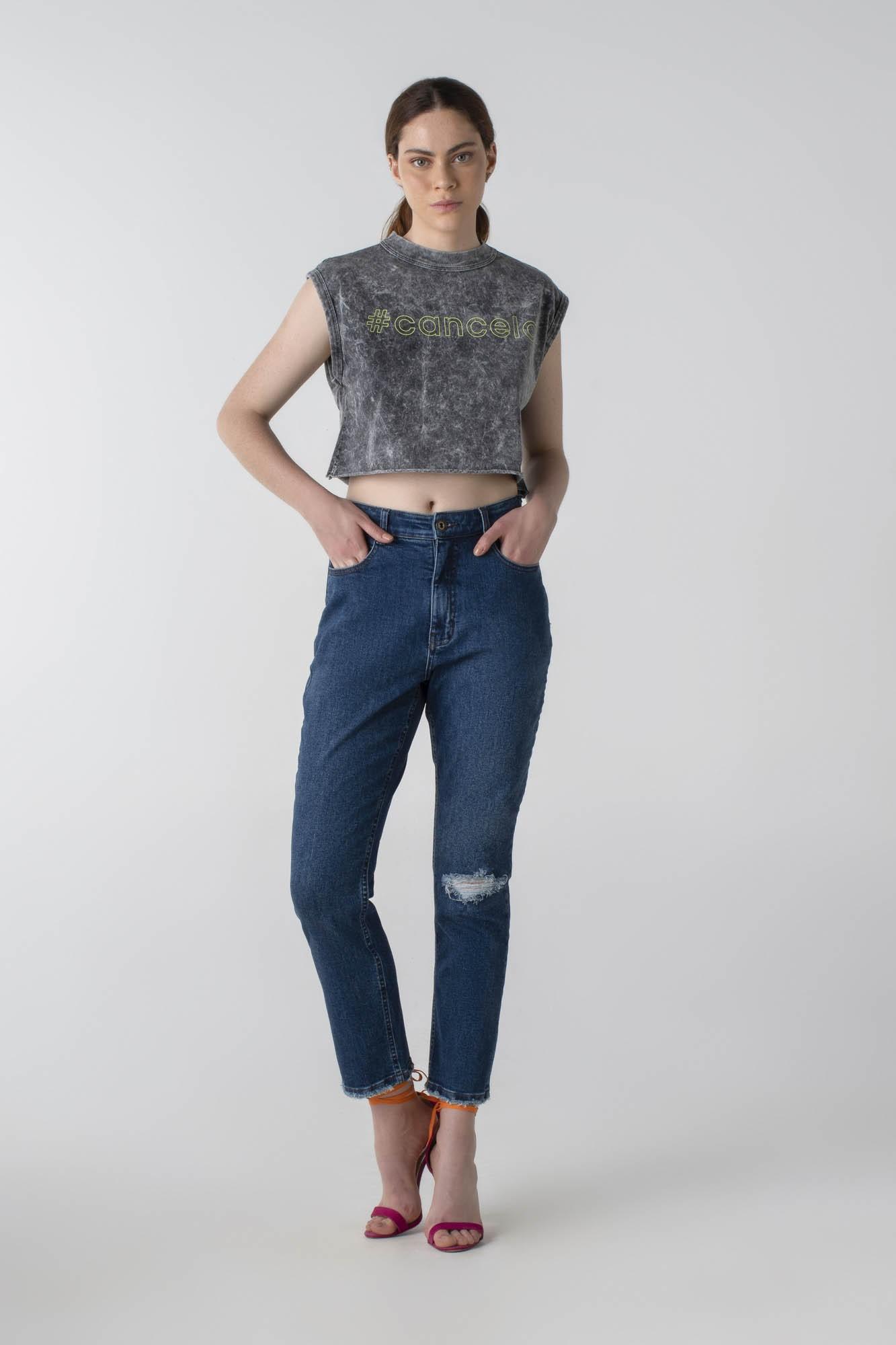 Calça jeans mom com elástico - Wave