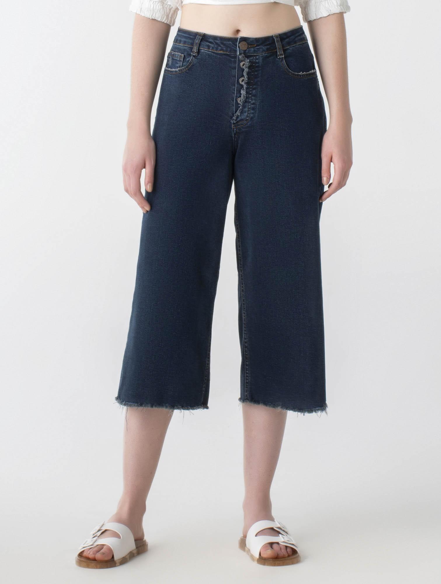 Calça jeans pantacourt cós médio - Wave