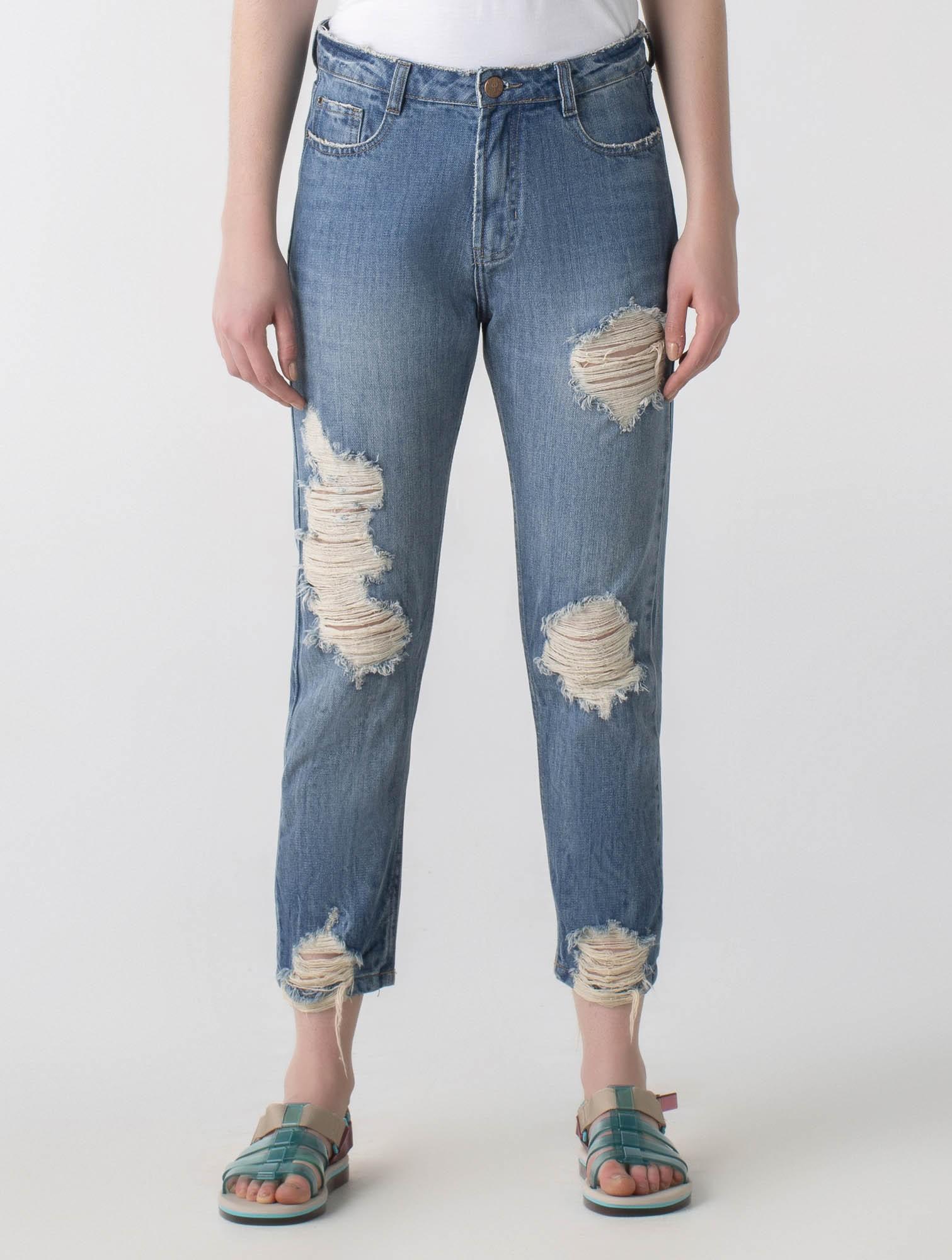 Calça jeans reta cós alto - Wave