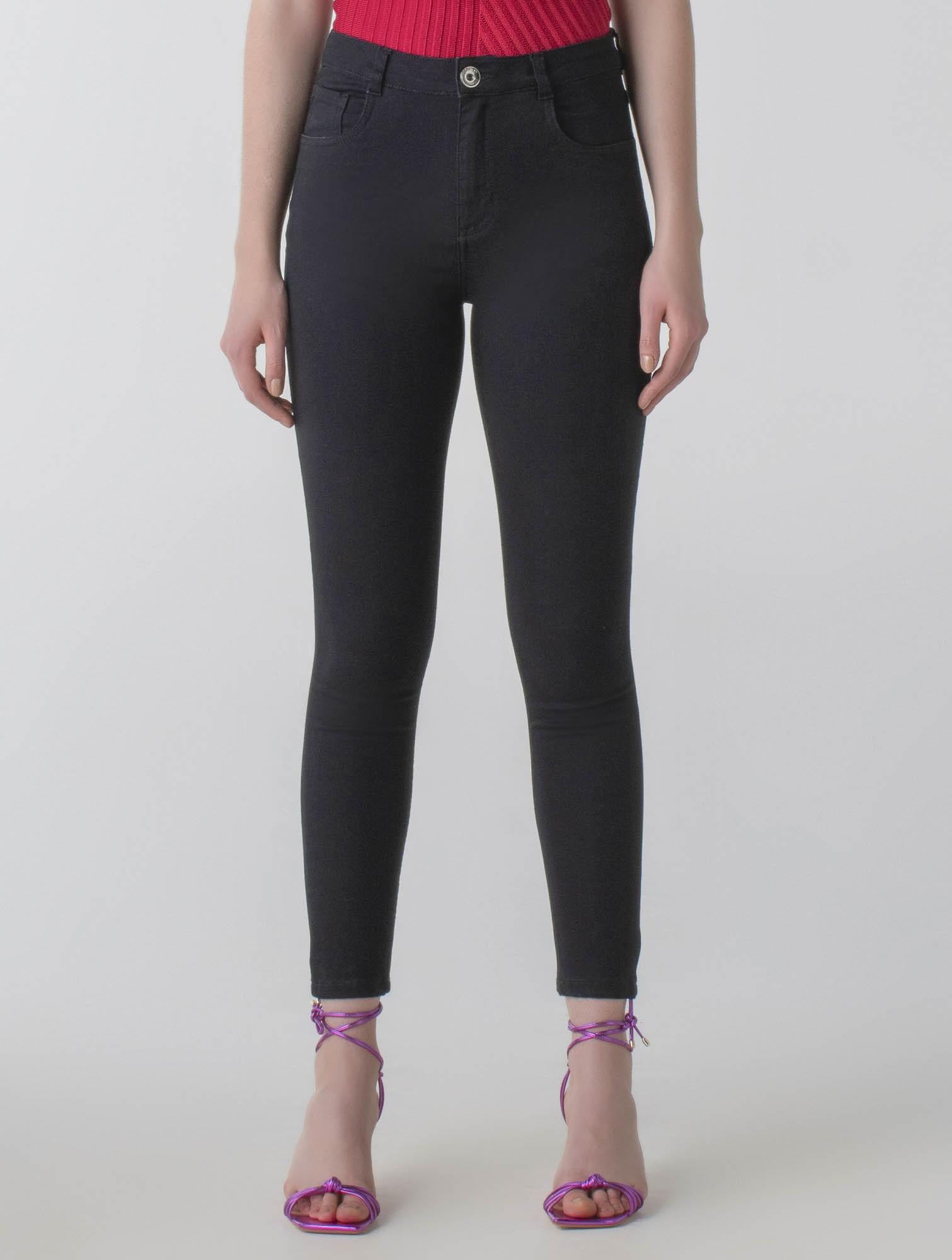Calça sarja skinny black cós médio - Daily