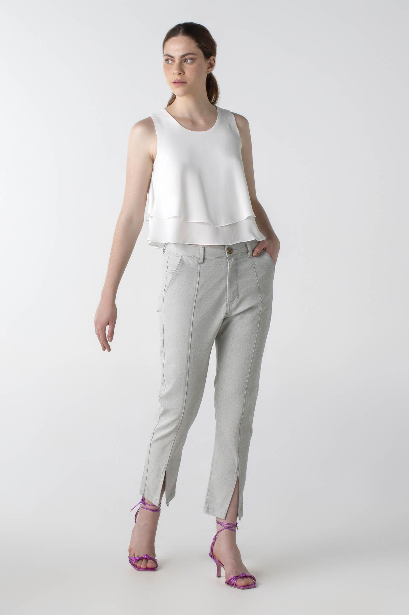 Calça sarja reta com recorte cós alto - Wave