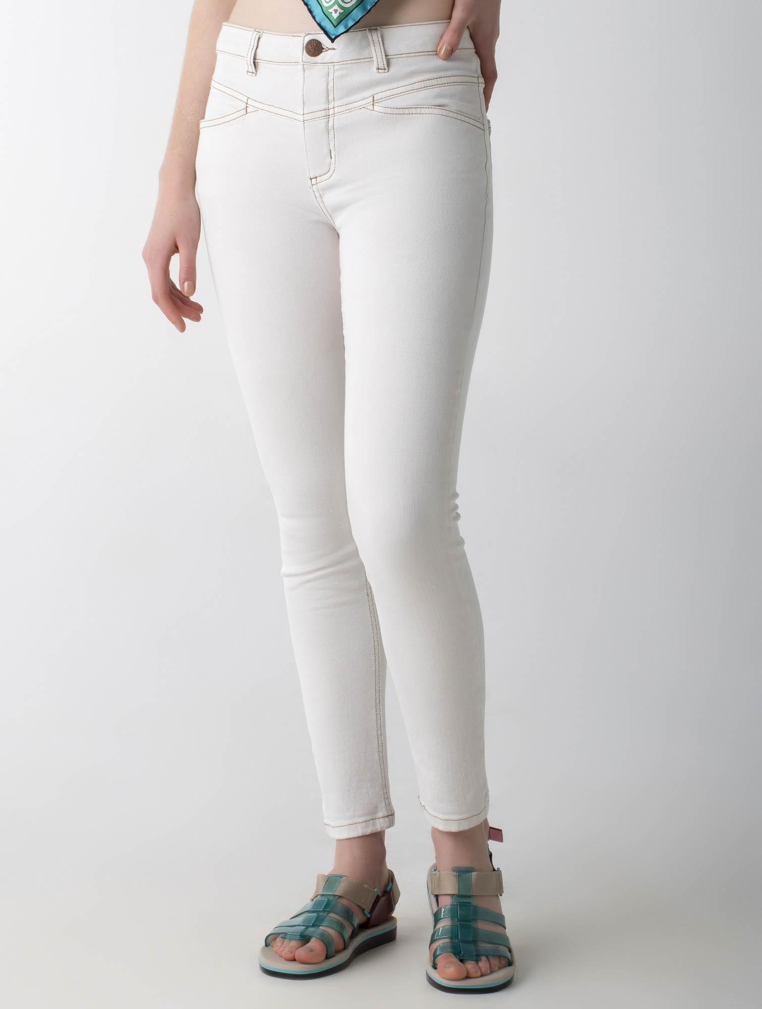 Calça sarja skinny com recorte cós médio - Wave