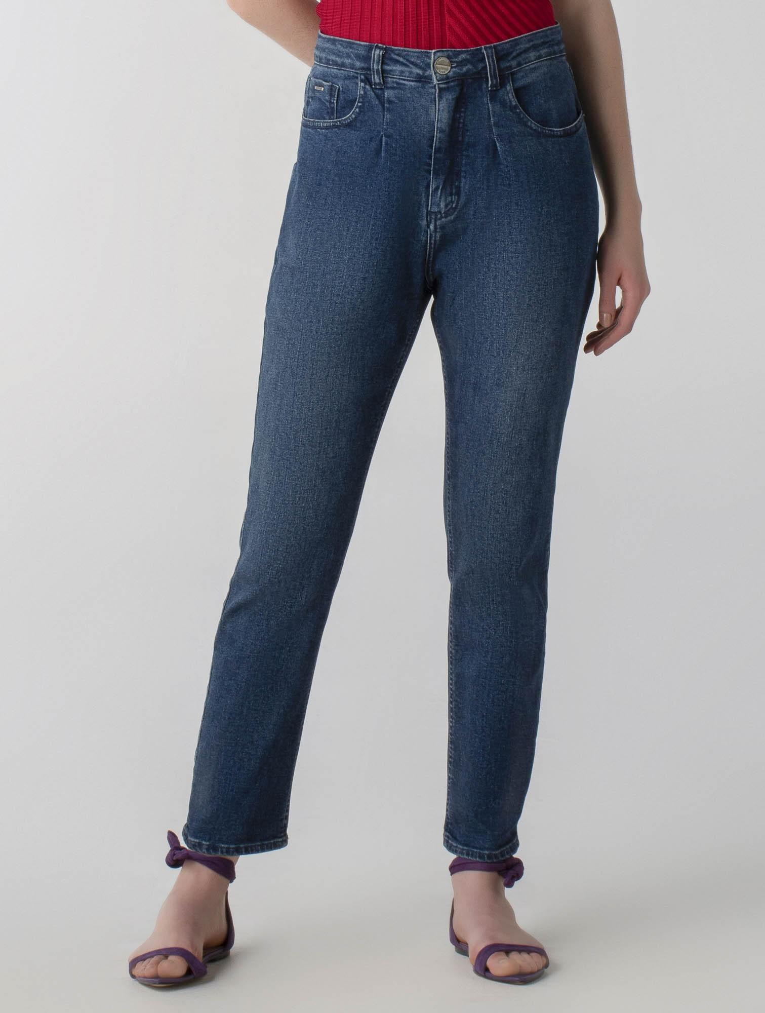 Calça jeans mom com prega- Wave