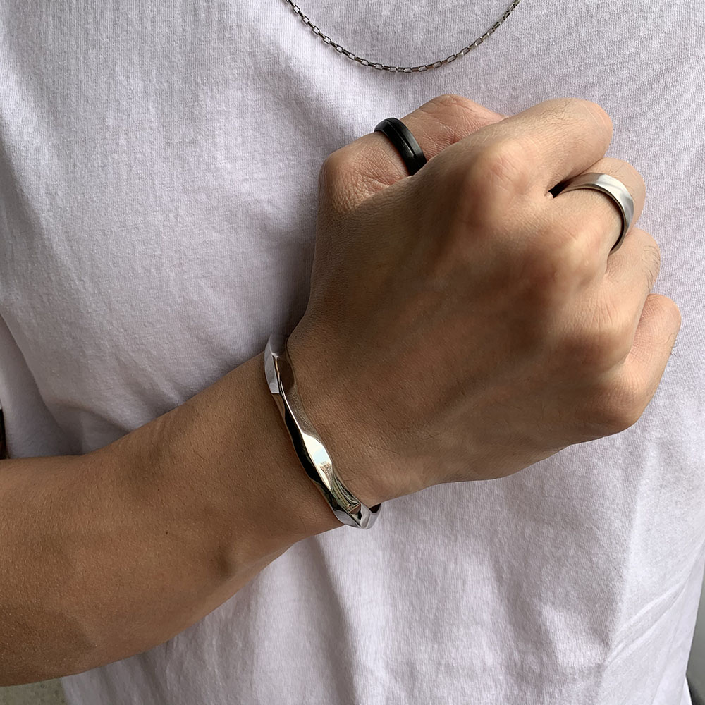 Pulseira Aço Cirúrgico Bracelete Faceted 24-0029