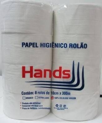 PAPEL HIGIÊNICO ROLÃO HANDS 300MX30CM C/ 8 UN
