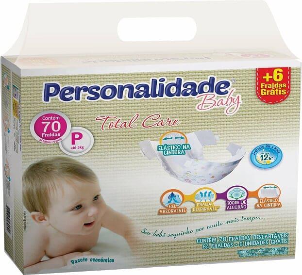 PERSONALIDADE BABY TOTAL CARE TAMANHO P C/ 64+6 UN