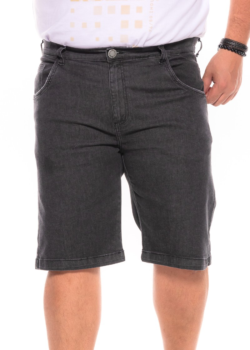 Bermuda plus size Jeans Preta