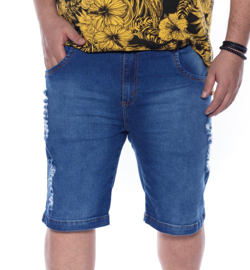 Bermuda plus size Jeans Rasgadin