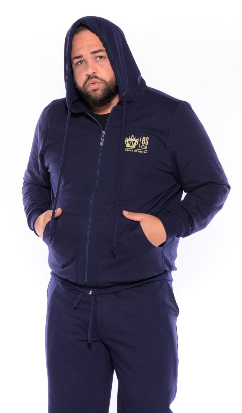 Blusão Moletom plus size BS Azul Marinho