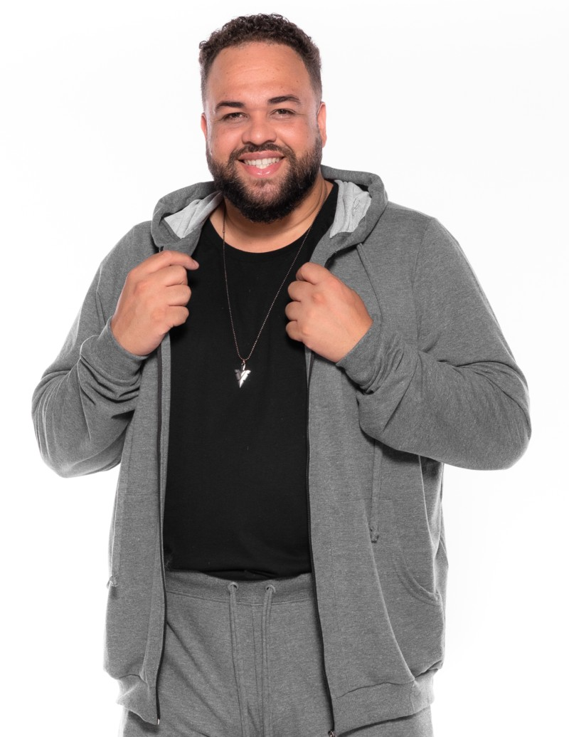 Blusão Moletom plus size BS Cinza Mescla