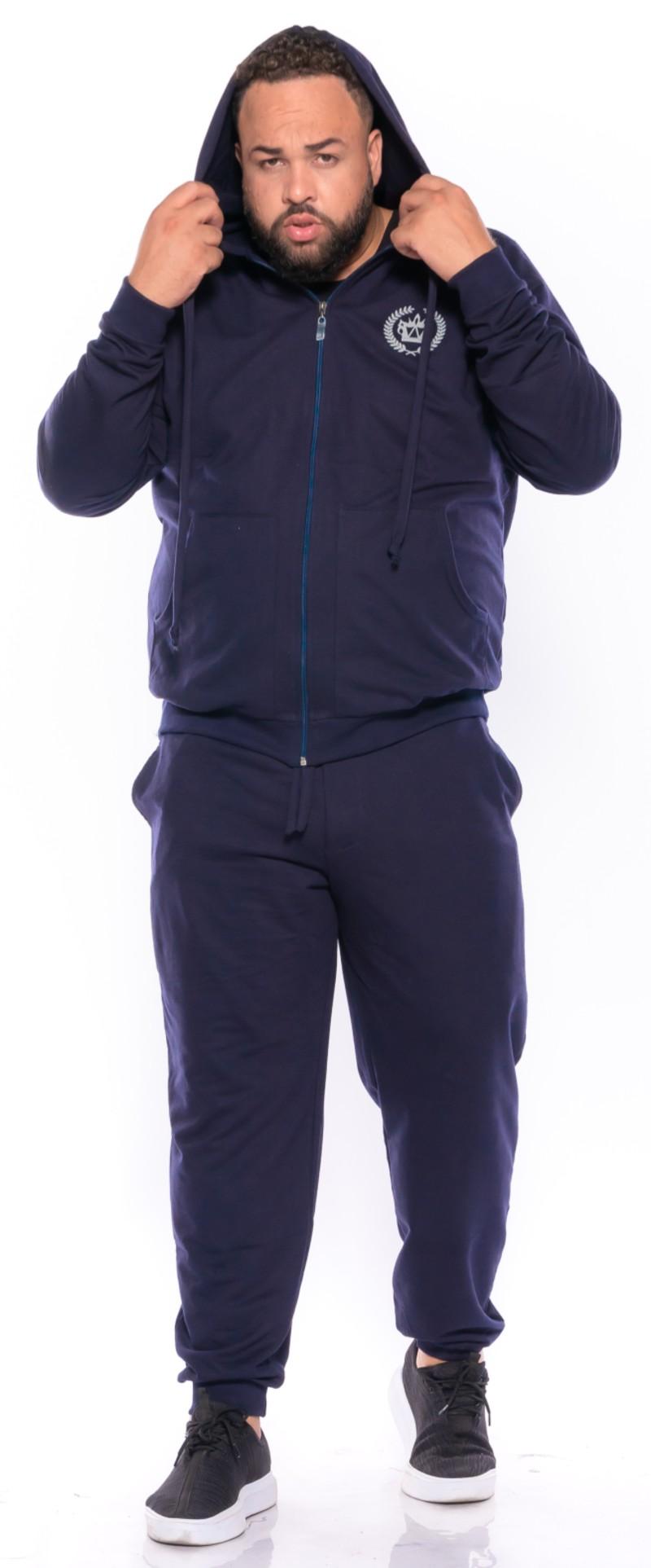 Blusão Moletom plus size Coroa Azul Marinho