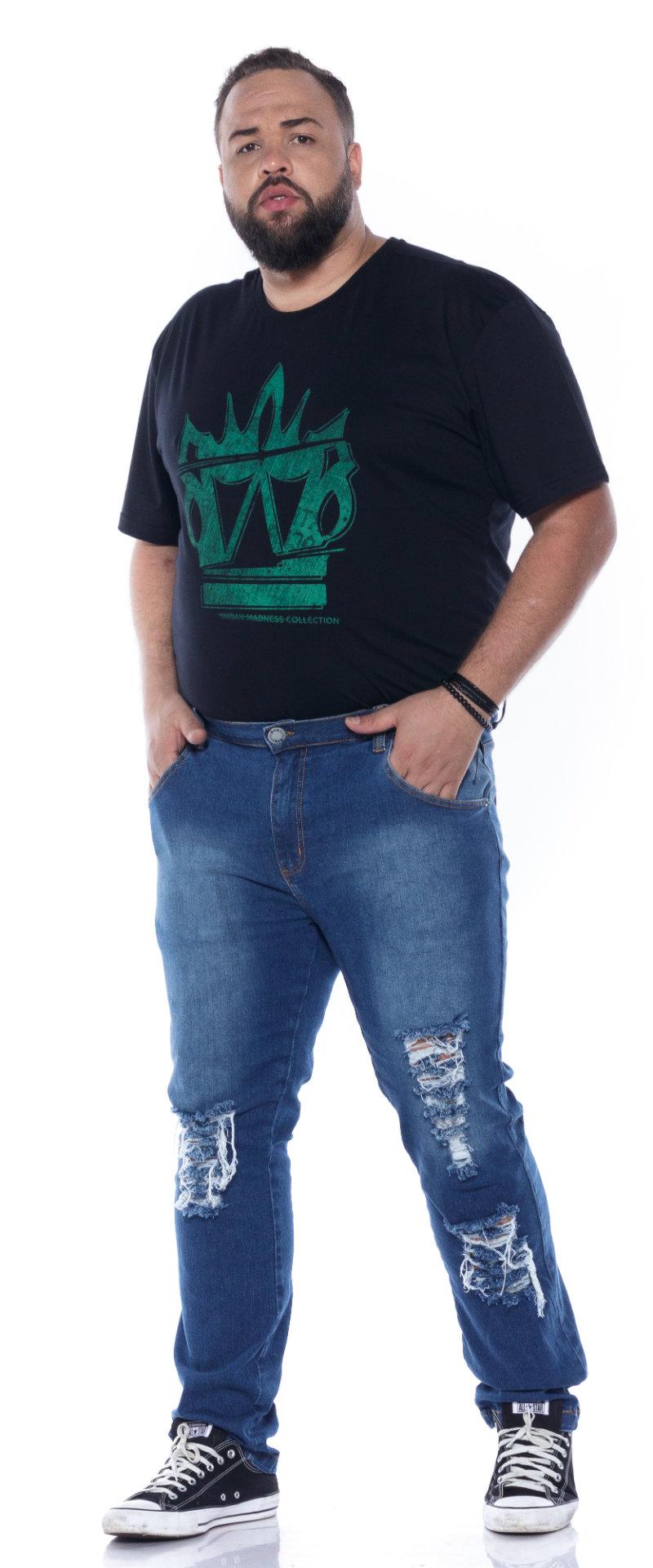 Calça plus size Jeans Rasgadin