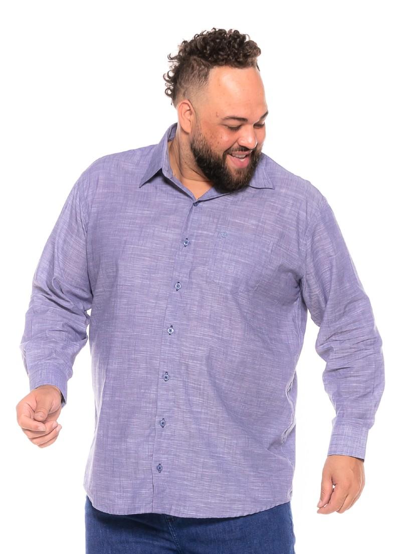 Camisa Flamê plus size Manga Longa Azul