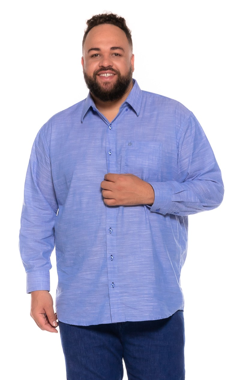 Camisa Flamê plus size Manga Longa Azul Claro
