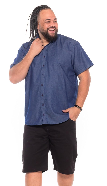 Camisa Jeans plus size Manga Curta Azul