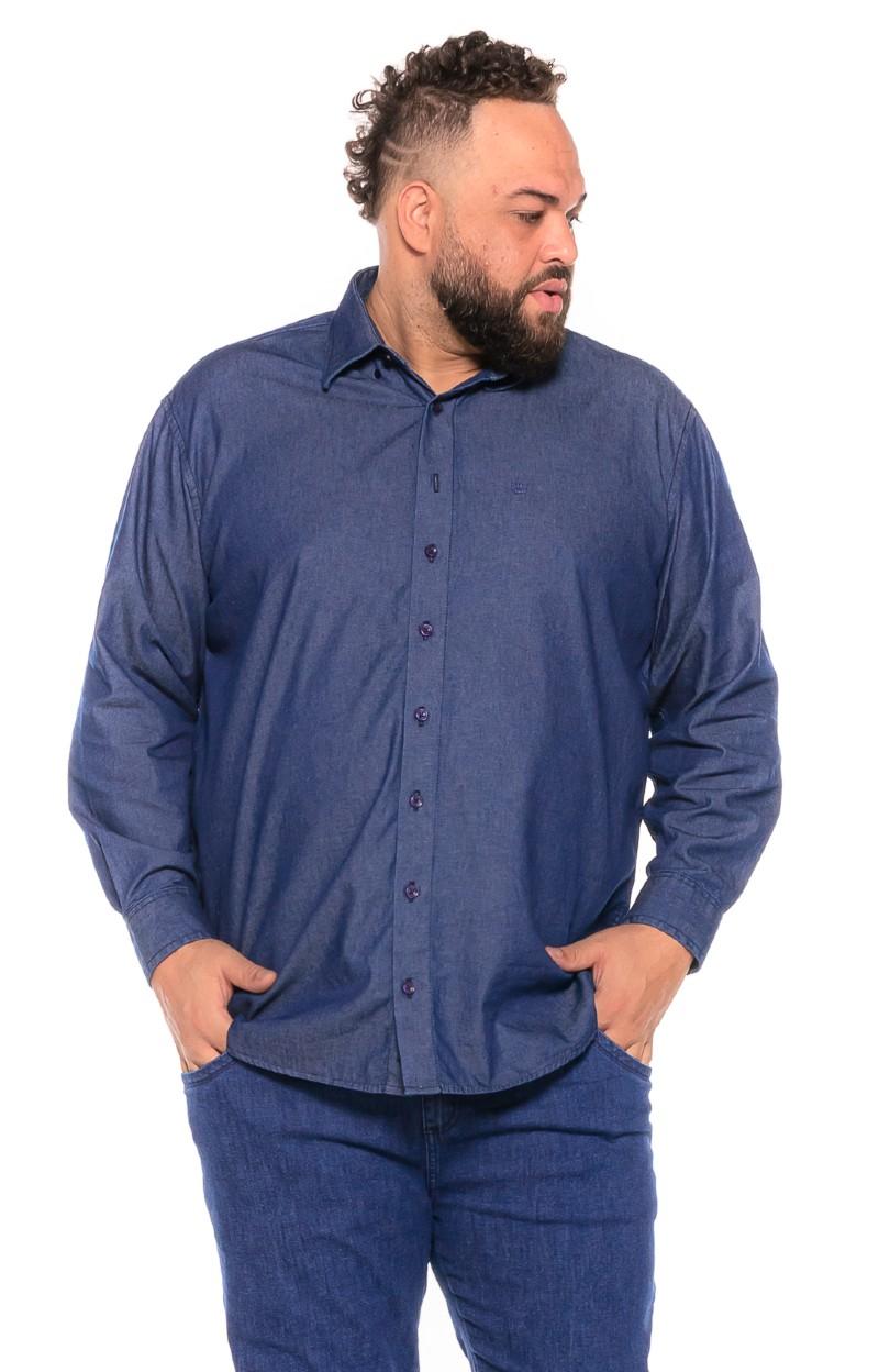 Camisa Jeans plus size Manga Longa Azul