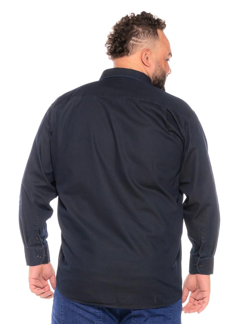Camisa Jeans plus size Manga Longa Marinho