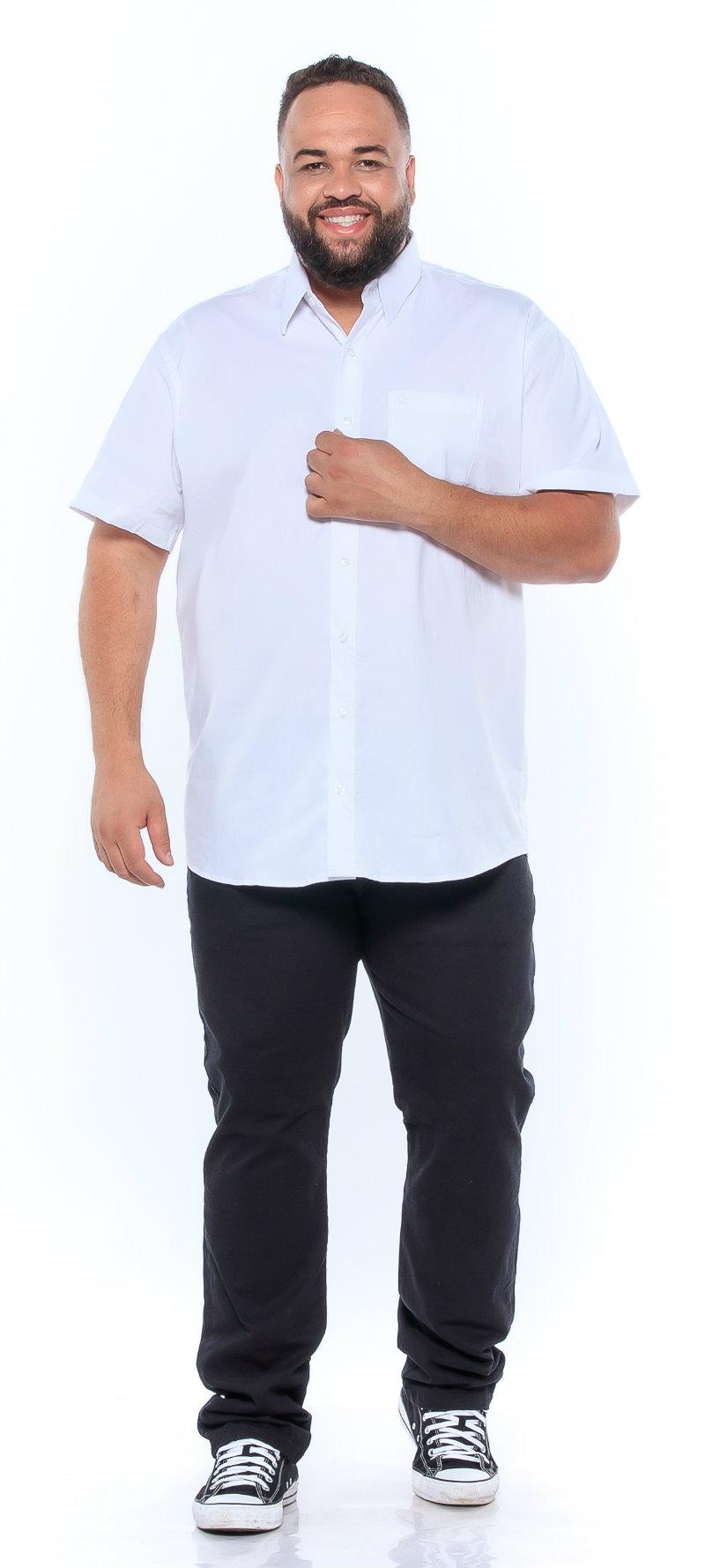 Camisa plus size Manga Curta Elastano Branca