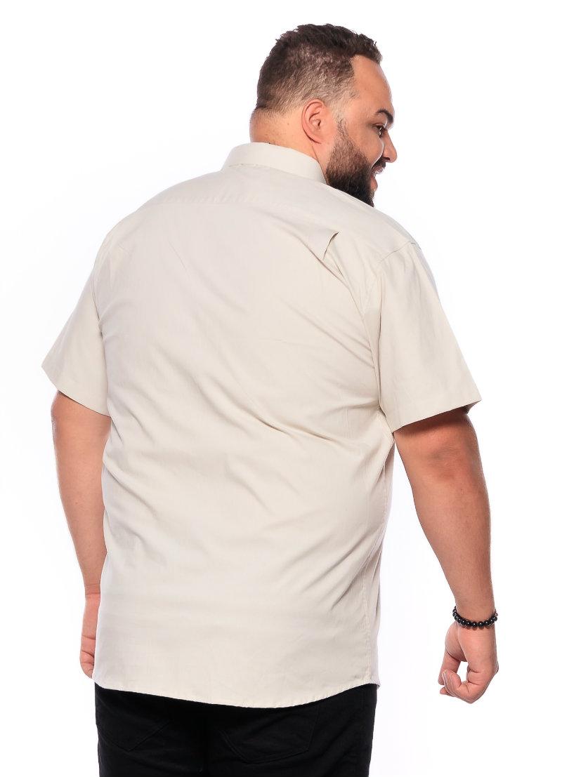 Camisa plus size Manga Curta Elastano Palha