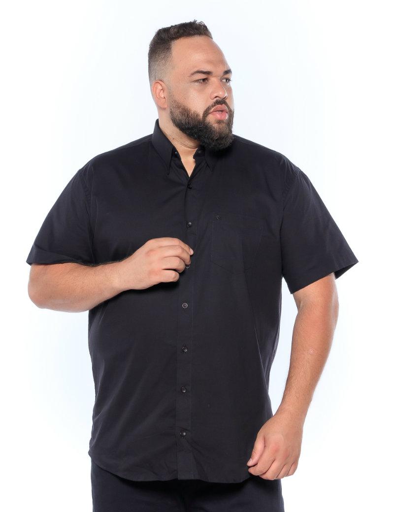 Camisa plus size Manga Curta Elastano Preta