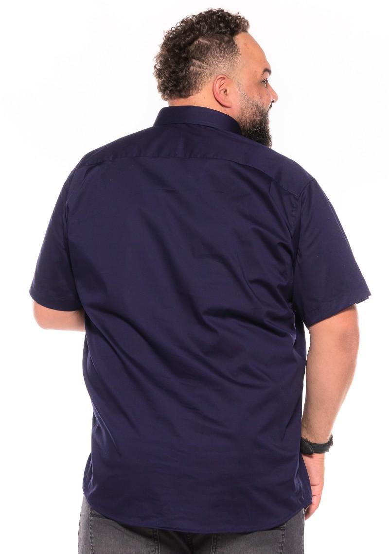 Camisa plus size Manga Curta Elastano Azul Marinho
