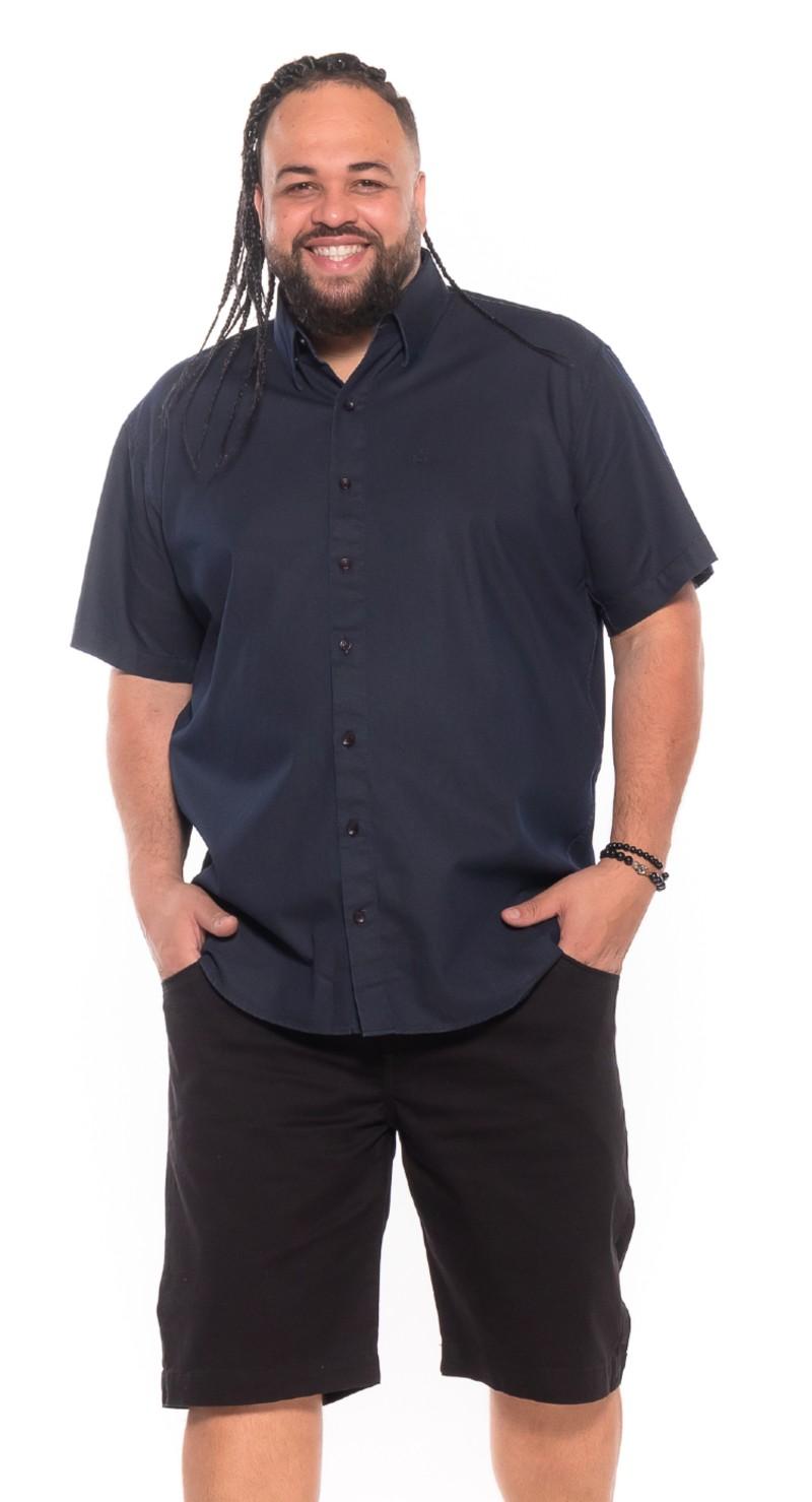 Camisa Jeans plus size Manga Curta Marinho