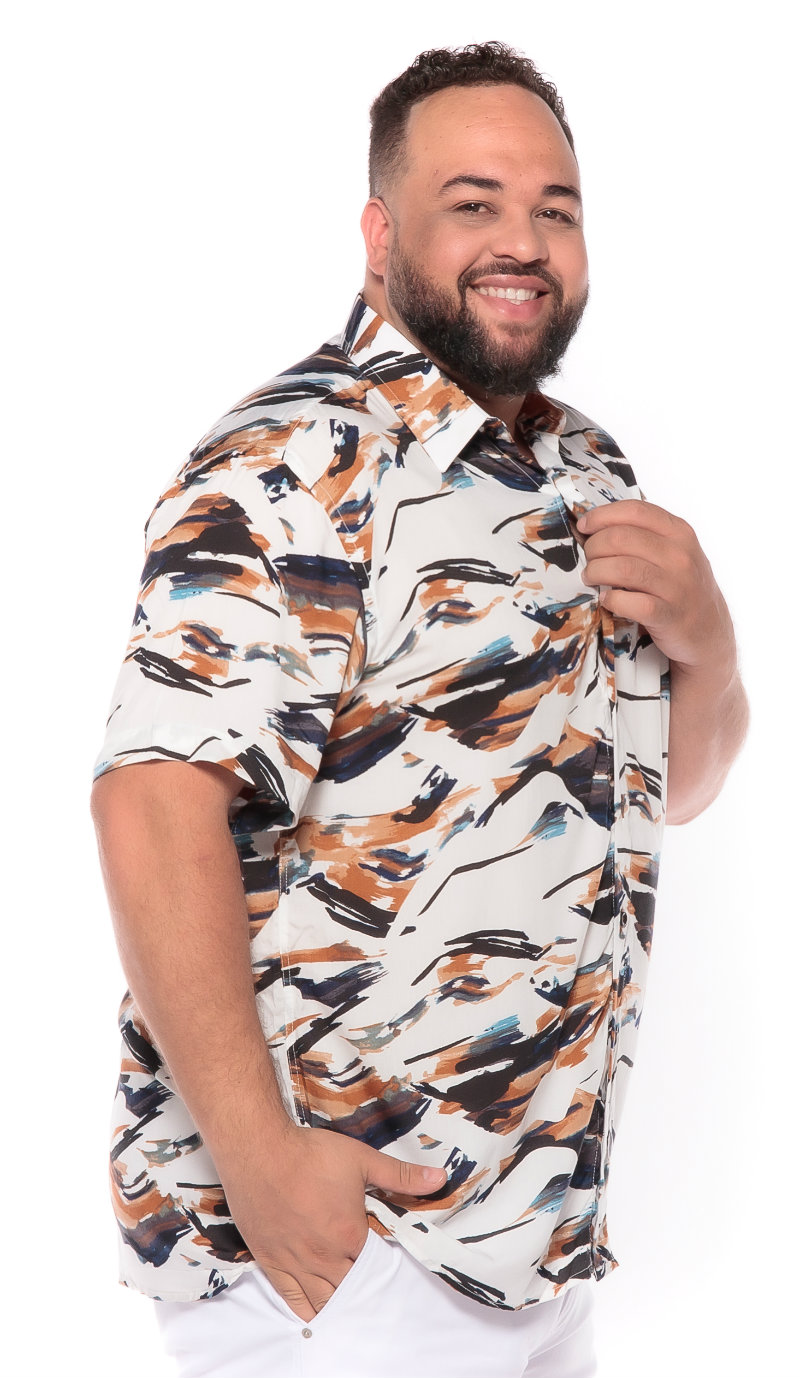 Camisa plus size Manga Curta Summer Abstract