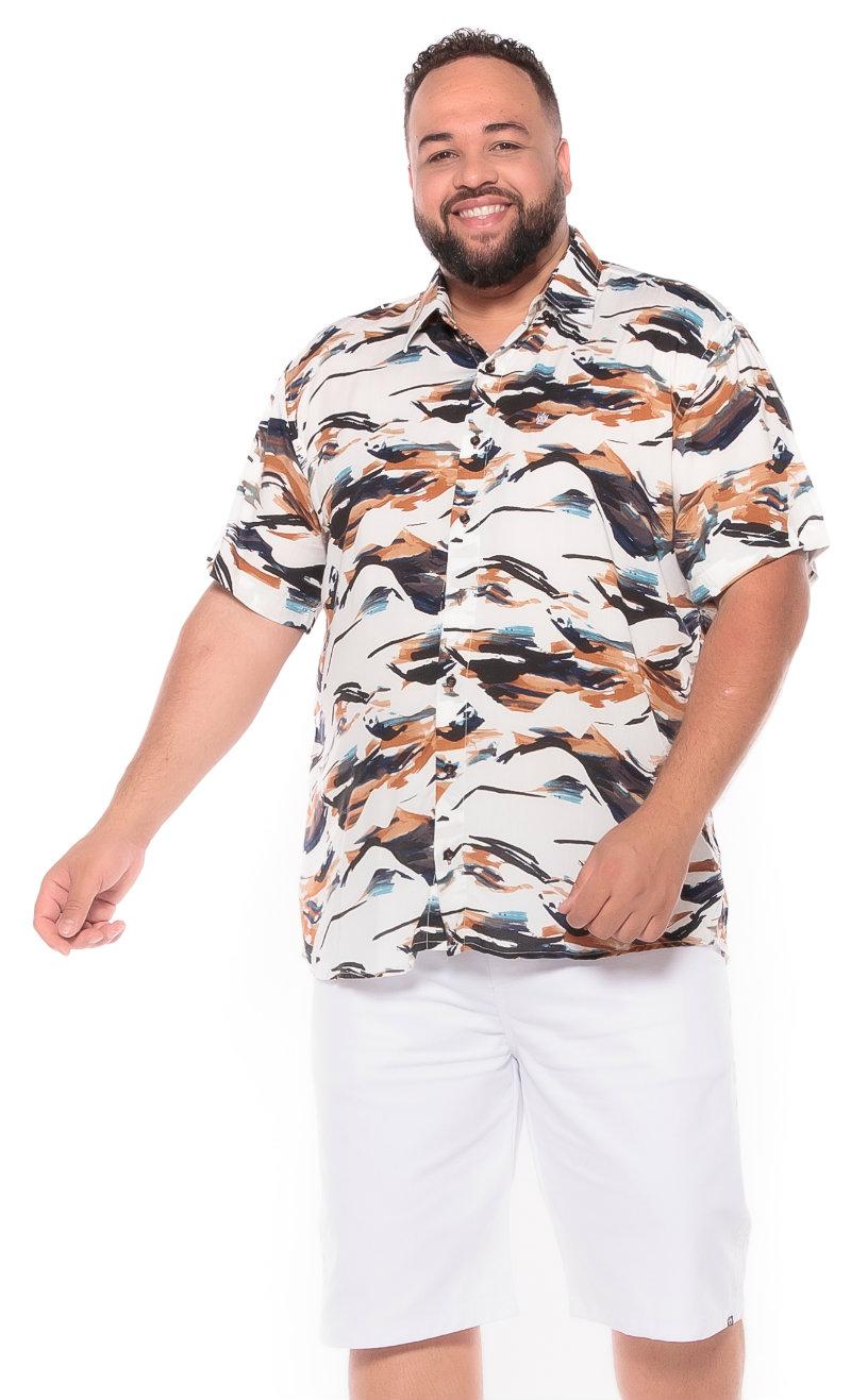 Camisa plus size Manga Curta Summer Abstract