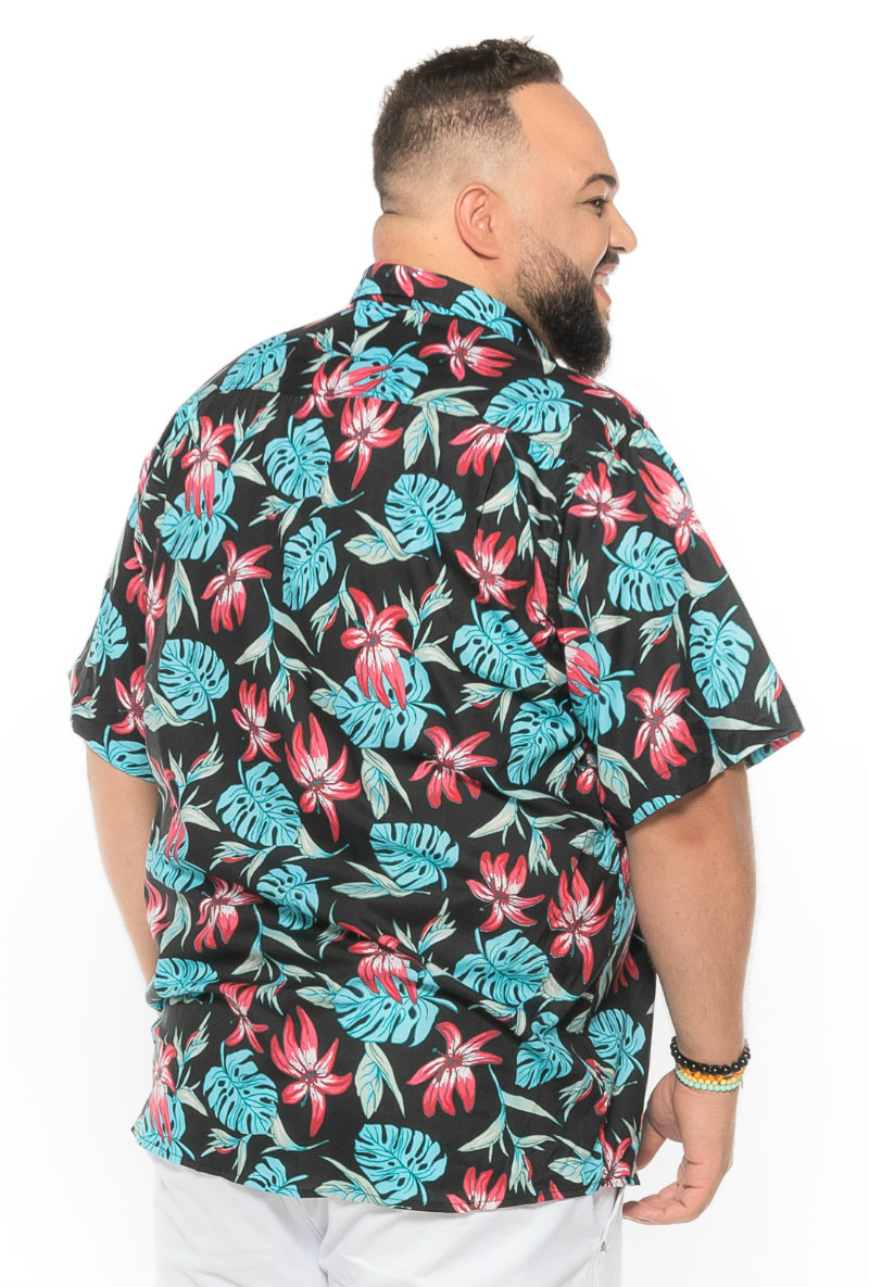 Camisa plus size Manga Curta Summer Aruba