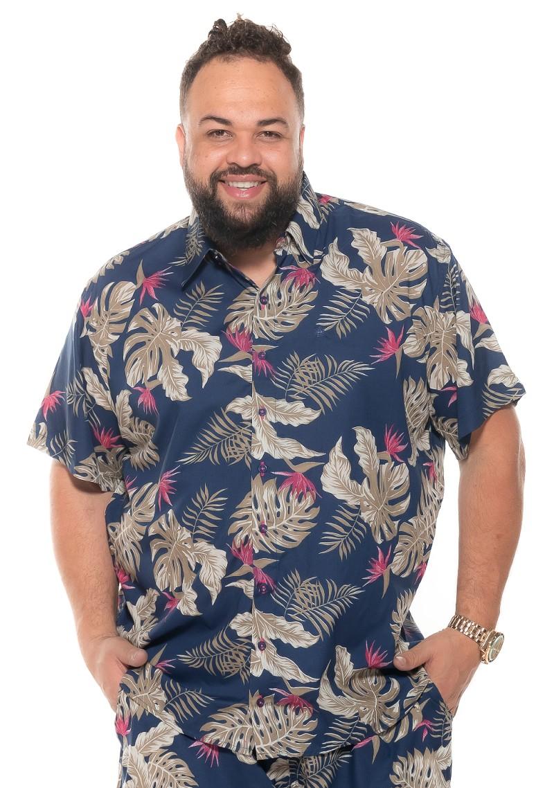 Camisa plus size Manga Curta Summer Cayman