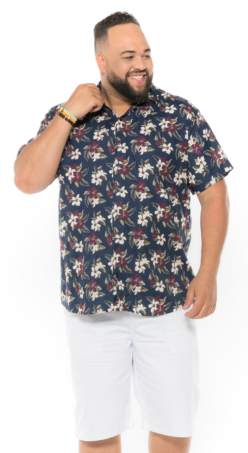 Camisa plus size Manga Curta Summer Creta