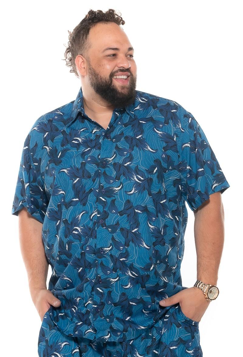 Camisa plus size Manga Curta Summer Fiji