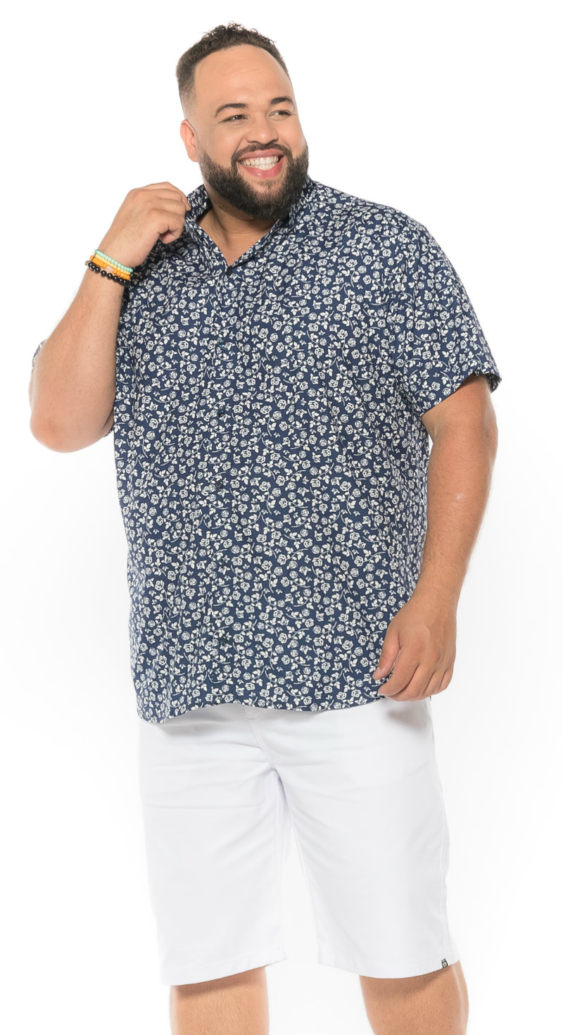 Camisa plus size Manga Curta Summer Flor Azul Marinho