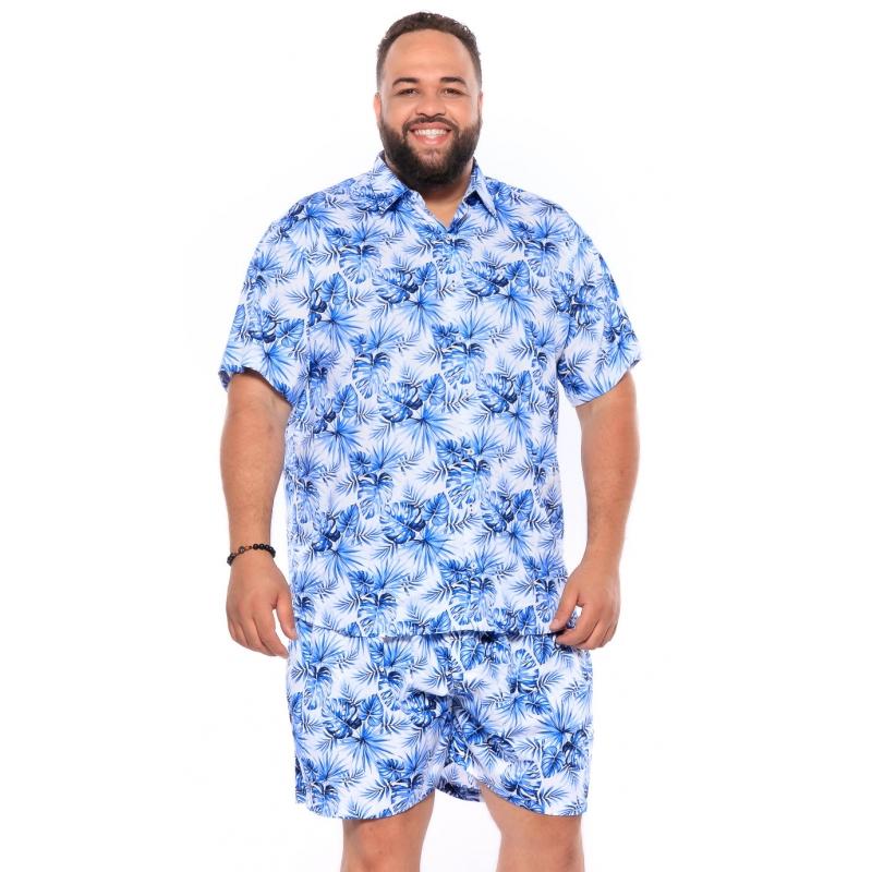 Camisa plus size Manga Curta Summer Folha Azul