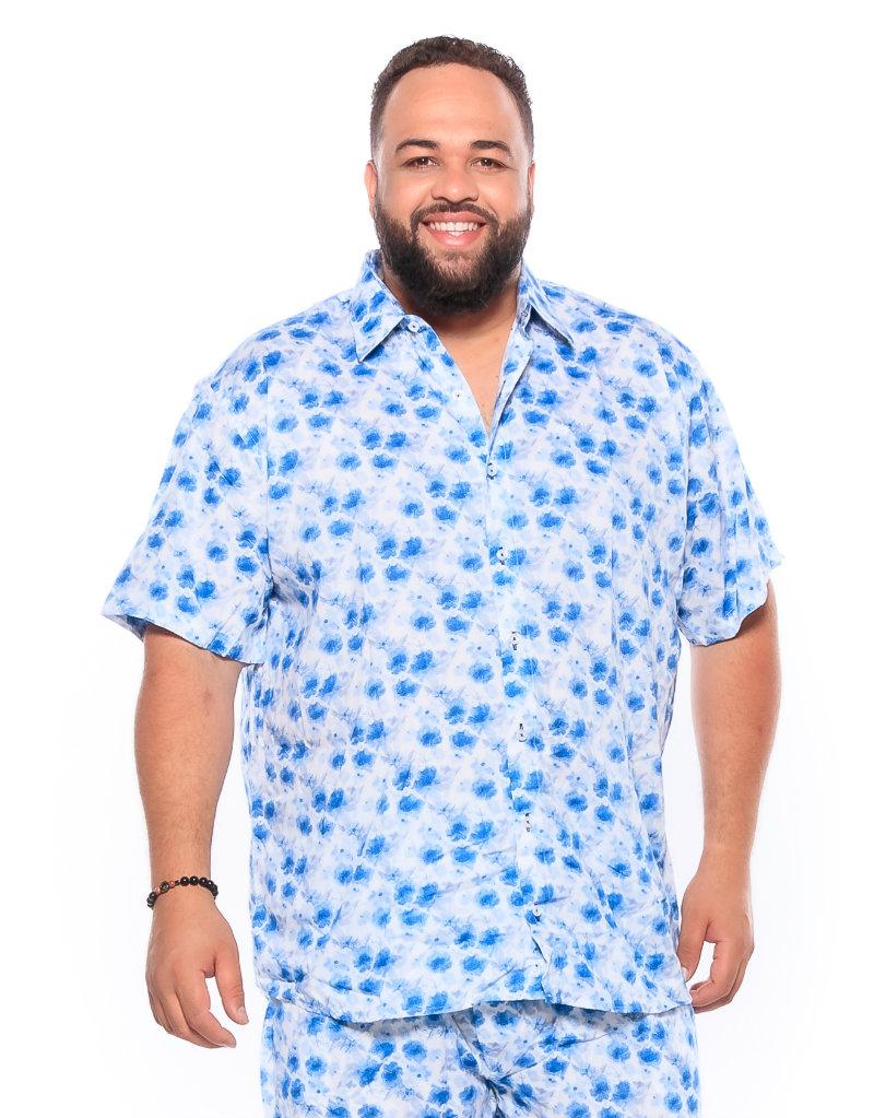 Camisa plus size Manga Curta Summer Folha Azul Claro