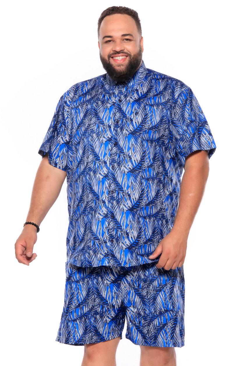 Camisa plus size Manga Curta Summer Folha Azul Escuro